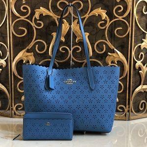 NWT Coach perforated tote handbag&wallet